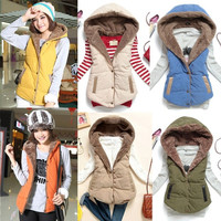 Women European Winter Coral Fleece Sleeveless Lapel Warm Vest Coat Jacket Tops 5 A_L