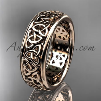 14kt rose gold celtic trinity knot wedding band, engagement ring CT7163G