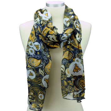 West Virginia Mountaineers Paisley Scarf