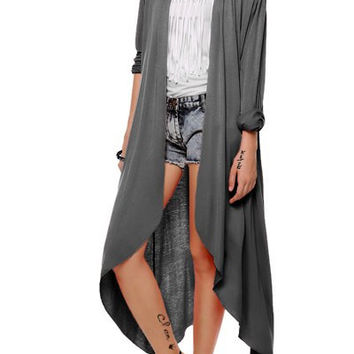 Long Sleeve Collarless Long Cardigan