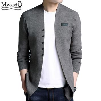 Mwxsd Brand Hot Sell Middle- Long length Mens Solid Sweater Cardigan Trench Male Casual pure color cardigan sweater