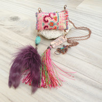 Tribe of Nomads Necklace, Colorful, Eclectic, Tassel and Feather Pendant with Vintage Embroidery