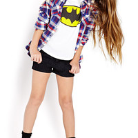 FOREVER 21 GIRLS Batman Tee (Kids) Cream/Yellow Small