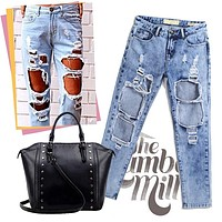 Women's Denim Sexy Boyfriend Jeans= 4815063556