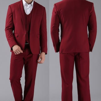 1 Button Wine Red Tuxedo Brand Fashion Bridegroom Business Dress Wedding Suits Blazer #998878