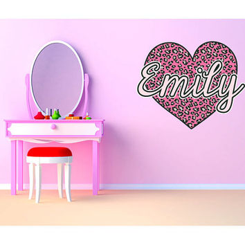 "Pink Cheetah Heart Monogram Name Girls Room Vinyl Wall Decal Graphics 27""x22"" Bedroom Decor"
