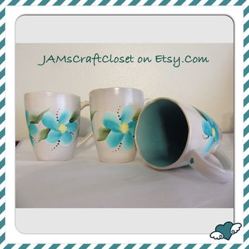 BUY 2 Get 1 FREE Unique Gray Hand Painted by ME Aqua Floral Mugs-One of a Kind-Aqua Inside Mug-Unique Mugs-Awesome Gift Idea-Kitchen Decor