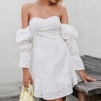 Women Embroidery Short Party Dress Female Fashion Sexy Off Shoulder Puff Sleeve Summer Beach Holiday Vestidos