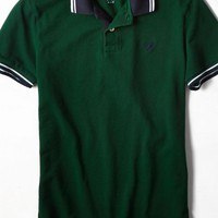 AEO Men's Tipped Polo (Pine)