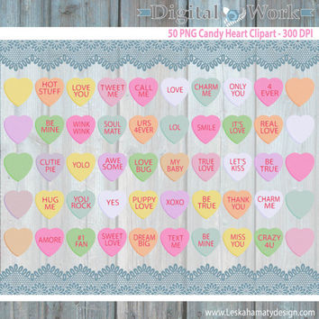 "Candy Hearts Clipart ""DIGITAL CANDY HEARTS"" Conversation Hearts Candy Clipart great for Valentines Day cards, tags and stickers"