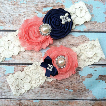 wedding garter / bridal garter/ lace garter / toss included , navy rosette , coral chiffon , ivory lace