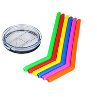 Housavvy Silicone Drinking Straws 6 Pack with 30 Oz Lid, for Yeti 30 Oz Tumbler Rambler, and for RTIC 30 Oz Tumbler