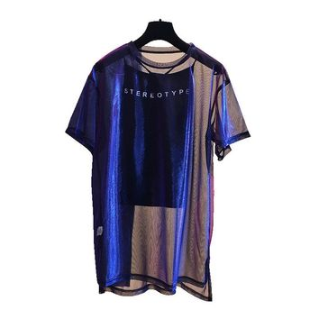 2 Pcs/Set Sexy Mesh Sheer Holographic Tops Tee Women 2018 Fashion Nightblue See-Through T Shirt Short Sleeve Shiny Shirt Tunic