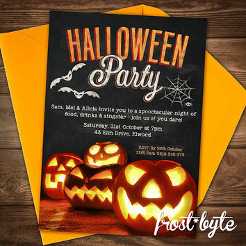 Halloween Pumpkin Party Invitation - Chalkboard design - personalised with your details - digital file sent to you within 48 hours