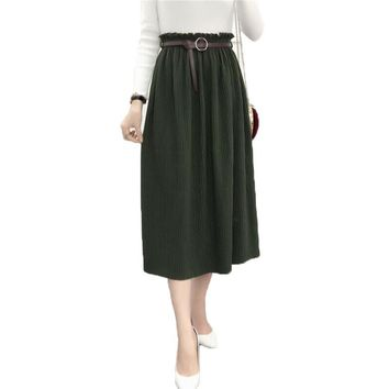 2017 Autumn Vintage Women Fashion Korean Style Temperament Elasitic High Waist Pleated Skirt Mid-Calf Solid Knitting Skirts