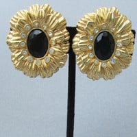 Signed Kenneth Jay Lane KJL for Avon New York Collection Rhinestone Onyx FLOWER Earrings