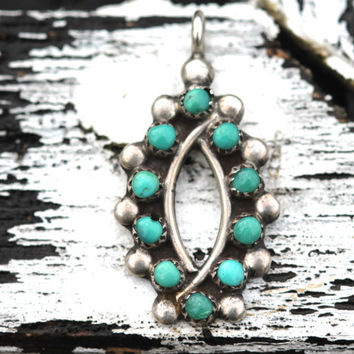 Vintage, Sterling Silver, Turquoise, Pendant, Zuni, Snake-Eye, Necklace, Boho, Gypsy, Indie, Bohemian, Fashion, Indian Jewelry
