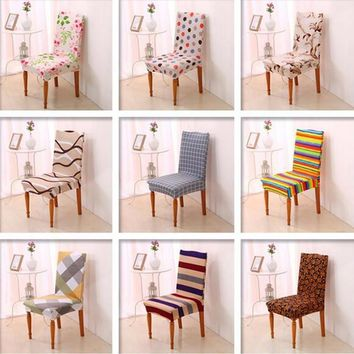 New Spandex Stretch Printed Dining Chair Cover Machine Washable Restaurant For Weddings Banquet Folding Hotel Chair Covering#785