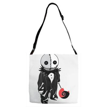 creepy doll trick or treat Adjustable Strap Totes