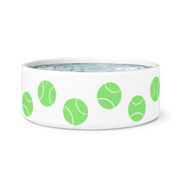 Ceramic Dog Bowl - Tennis Ball Addict Edition