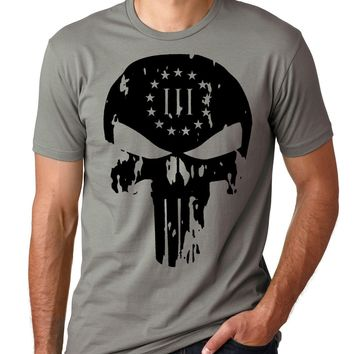Distressed Threeper Punisher Skull - ROE Graphic Tee