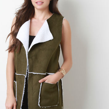 Faux Suede Panel Shearling Vest