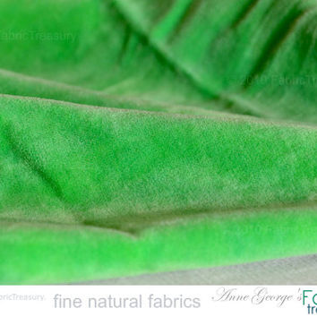 "Organic cotton velvet. Spring decor. Plush fabric for soft furnishings. Green Velvet. By the Yard. Washed Velvet. Parrot Green. 47"" wide."