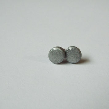 Silver Clay Stud Earrings Small Ear Post Studs