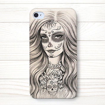 iPhone 4 Case, iPhone 4 Cases, iPhone 4S Case, iPhone 4 Case Wrap Around - Sugar Skull Girl