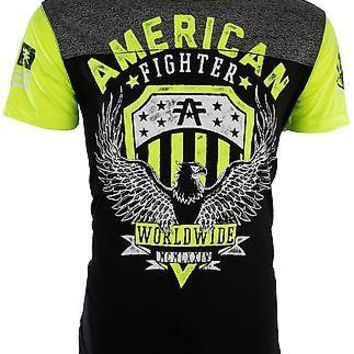 Licensed Official AMERICAN FIGHTER Mens T-Shirt ELMHURST ARTISAN Athletic BLACK Biker Gym UFC $40