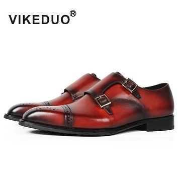 Brogue Style Double Monk Strap Handmade Square Toe Buckle Strap Brown Men Genuine Leather Dress Shoes