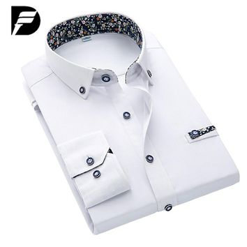 New Arrival Casual Shirt Men French Cuff Tailored Slim Mens Dress Shirt For Cufflinks Camisa Masculina Plus Size S-4XL