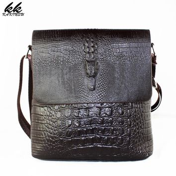 Luxury Embossed Alligator Pattern Men Fashion Design High Quality Messenger Bag