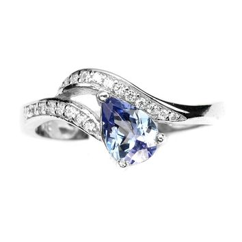 14K White Gold 1.3CT Pear Cut Natural Tanzanite Ring Size 7