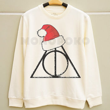 S M L - Merry Christmas Deathly Hallows TShirts Funny Christmas Sweater Jumpers Long Sleeve Sweater Unisex TShirts Women TShirts Men TShirts