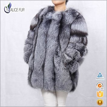 Chinese factory whole pelt Silver Fox Fur Coat / Russian Style real Silver Fox Fur Jacket For Women