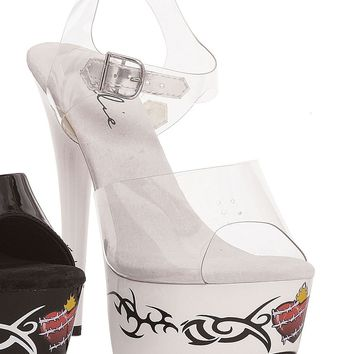 Ellie Shoes Brit Tribal Barbwire Heart Tattoo Platform Ankle Strap Sandal (12,Clear/Black)