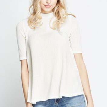 White Fiona Cozy Knit Mock Neck Top