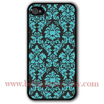 iphone 4 case, iphone 4s case, Damask Painting black hard case, vintage damask iphone caes