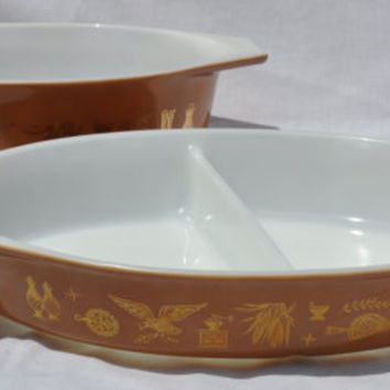 Vintage Pyrex Early American Cinderella Casserole and Divided Dish Brown Gold Leaf