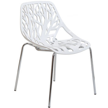 LexMod Intricate Orchard Chair in White Plastic