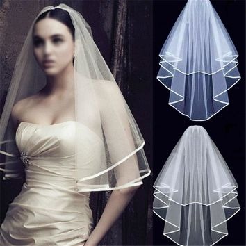 2018 Elegant White Ivory Wedding Bridal Headwear Simple Rayon Satin With Comb for Mother Veils Bandana Elbow Two Layers Romantic