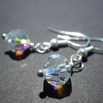 Aurora Borealis Crystal Faceted Beads- Sterling Silver Plated French Hook- Dangle Earrings- Bridesmaid- Bride- Handmade Wedding Accessories