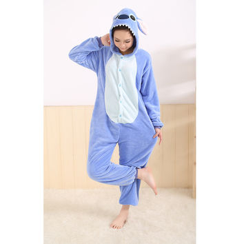 All in One Flannel Anime Pijama Cartoon Cosplay Warm Easy For Bathroom Adult Unisex Homewear Onesuits Animal Pajamas Stitch