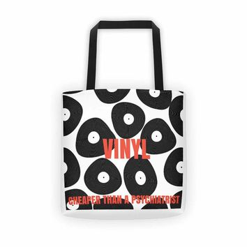 VINYL - Cheaper Than A Psychiatrist TOTE Bag - Vinyl Record Tote Bag - Dj - Music Lovers - Vinyl Collectors - christmas 2018 gifts
