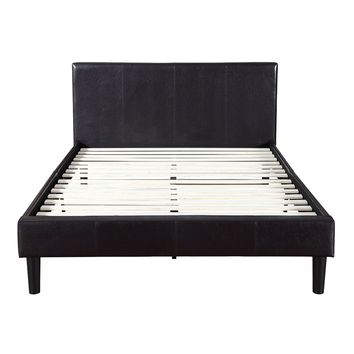 Queen Dark Brown Espresso Faux Leather Upholstered Platform Bed With Padded Headboard