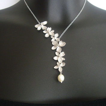 Flower necklace lariat necklace Orchids necklace  by odalisca