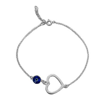 "Heart Double Sided Evil Eye Adjustable Bracelet Sterling Silver, 7"" to 8.5"""