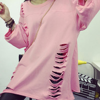 Pink Ripped Cut Out Sweatshirt