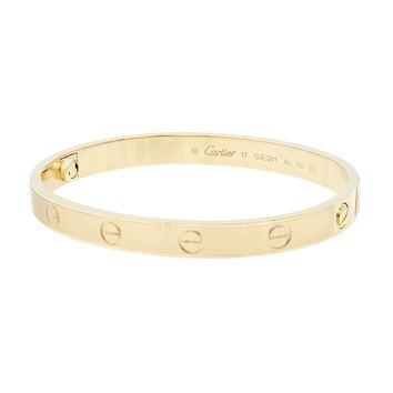 Cartier Love 18K Yellow Gold Bangle Bracelet SZ17